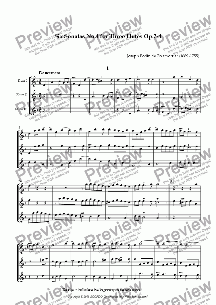 page one of Six Sonatas No.4 for Three Flutes Op.7-4