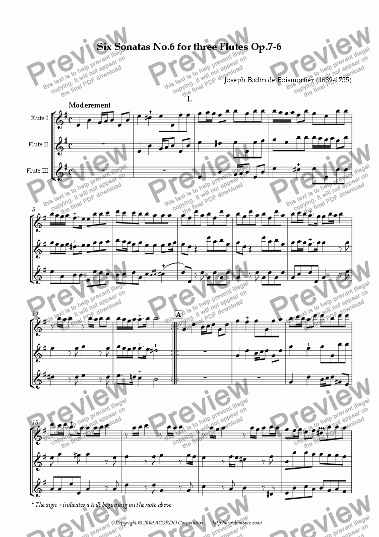 page one of Six Sonatas No.6 for Three Flutes Op.7-6