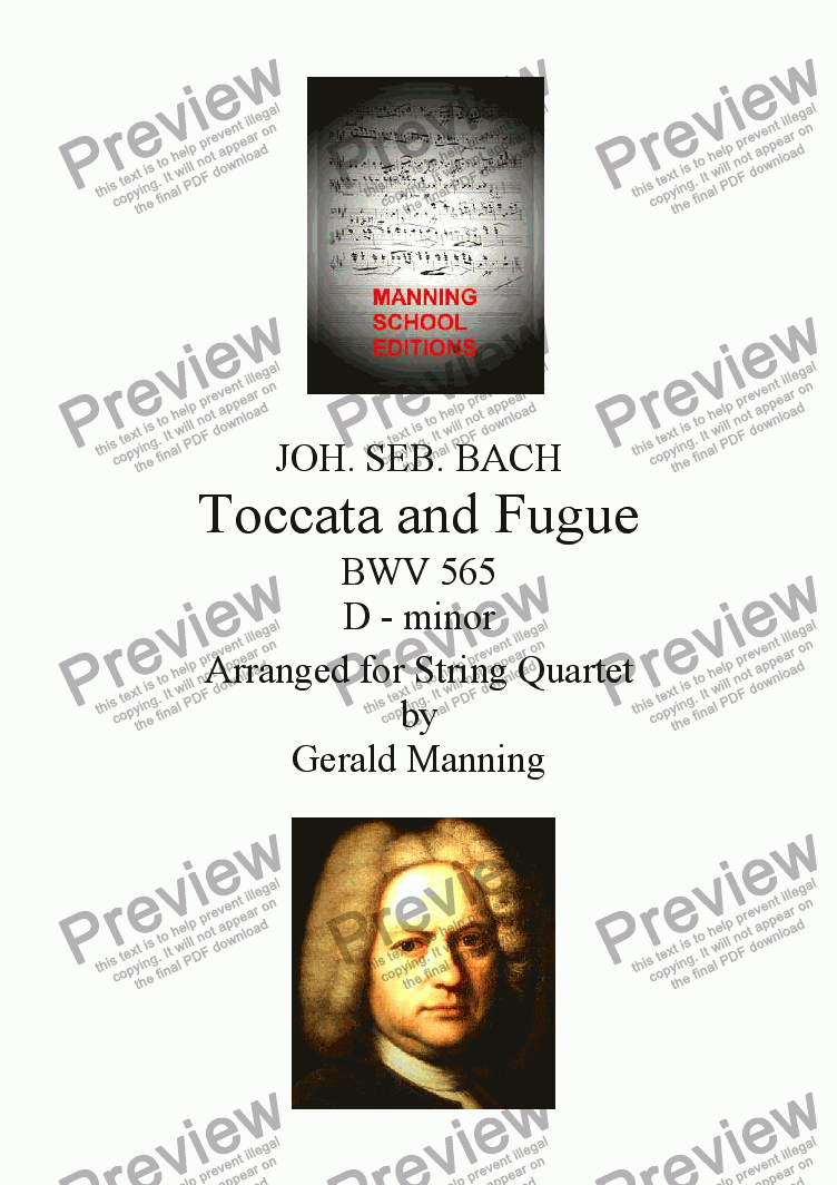 page one of BACH, J.S. - Toccata & Fugue in D minor BWV 565 - arranged for String Quartet by Gerald ManningASALTTEXT