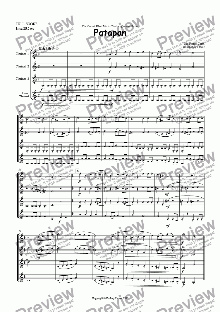 page one of Patapan arr for Clarinet Quartet