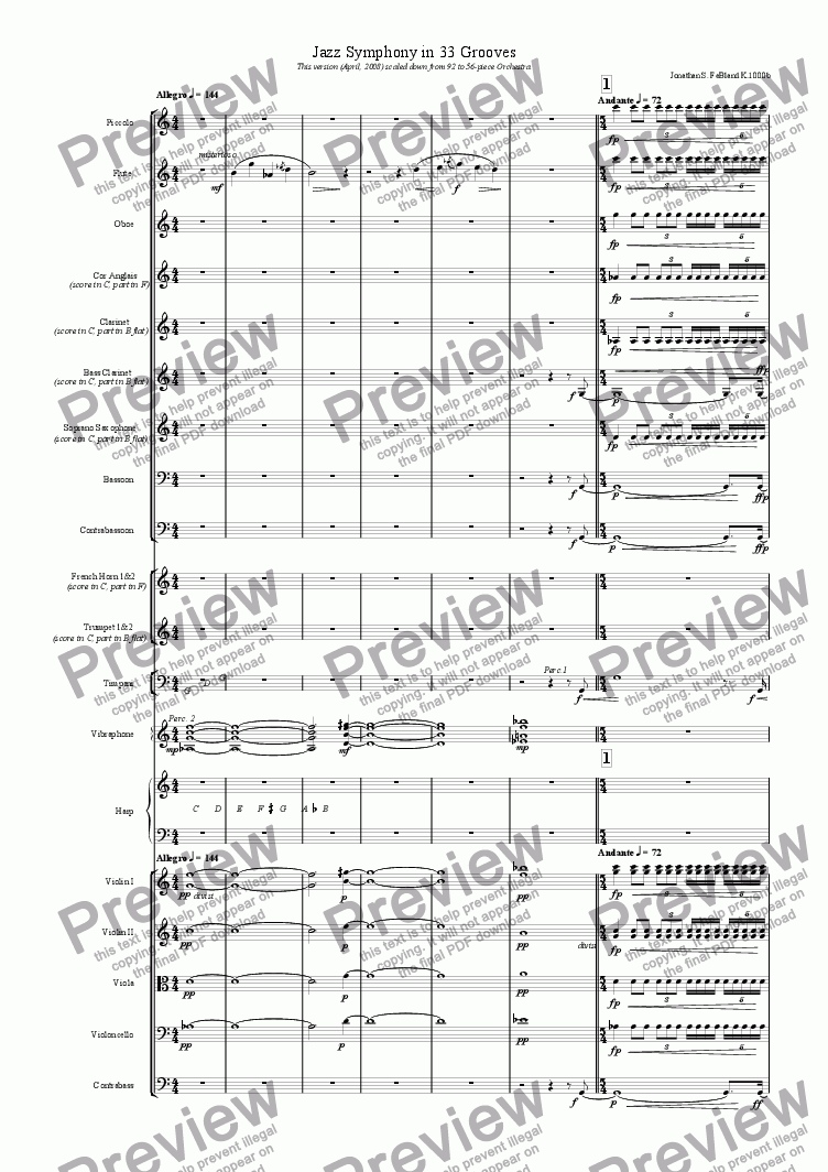 page one of Jazz Symphony in 33 Grooves