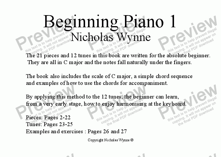 page one of Beginning Piano Book 1