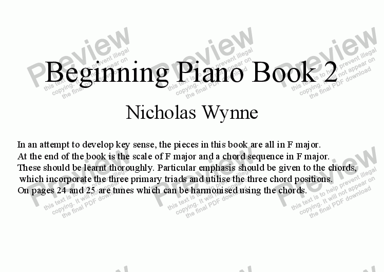 page one of Beginning Piano Book 2