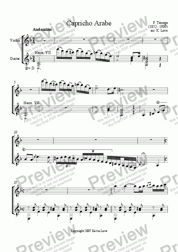 page one of Capricho Arabe (Violin and Guitar)