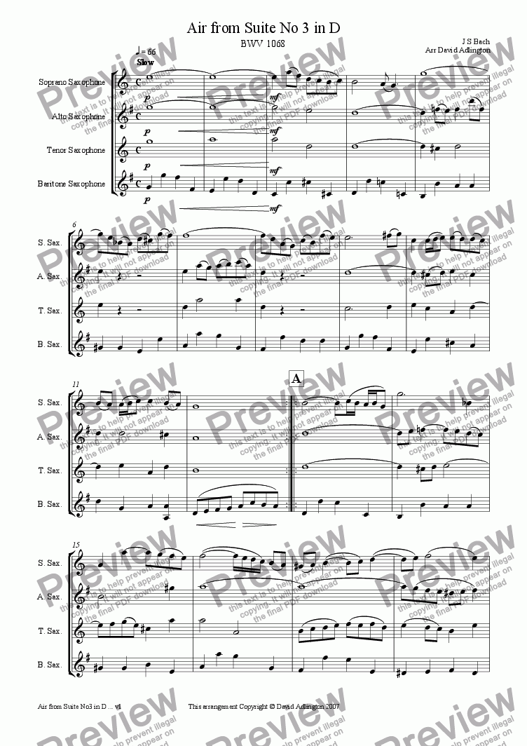 page one of Air from Suite No 3 in D by Bach - arranged for Saxophone QuartetASALTTEXT