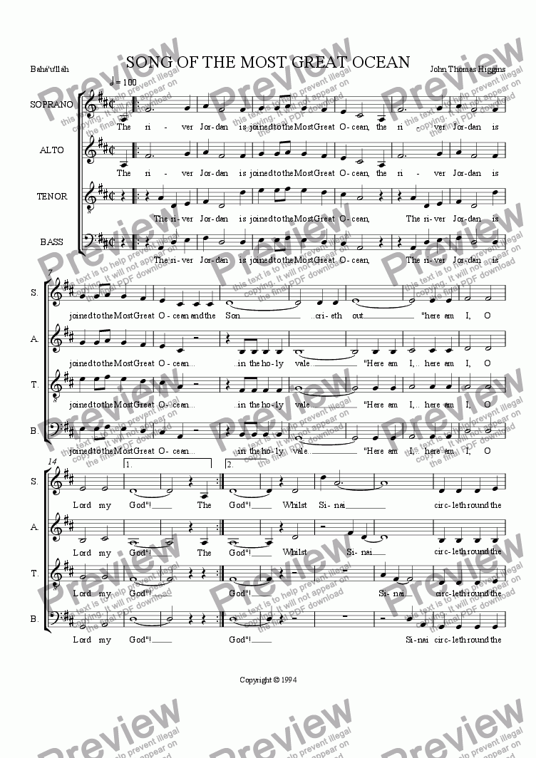 page one of 18.1 Song of the Most great Ocean