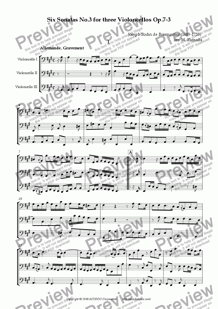 page one of Six Sonatas No.3 for Three Violoncellos Op.7-3