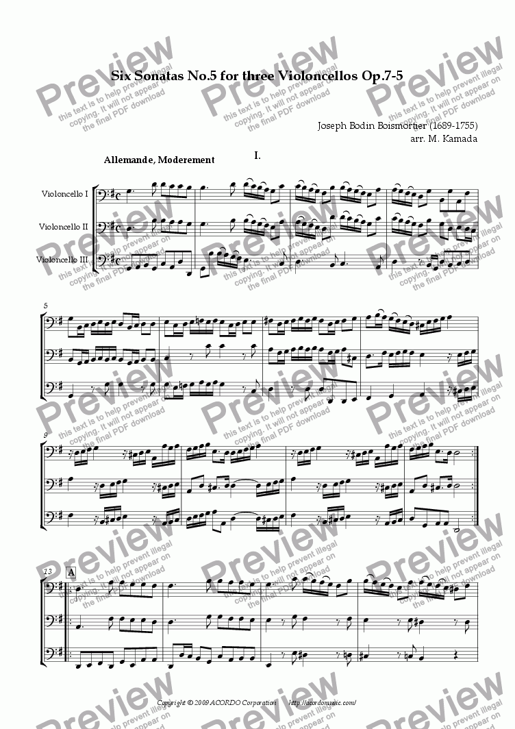 page one of Six Sonatas No.5 for Three Violoncellos Op.7-5