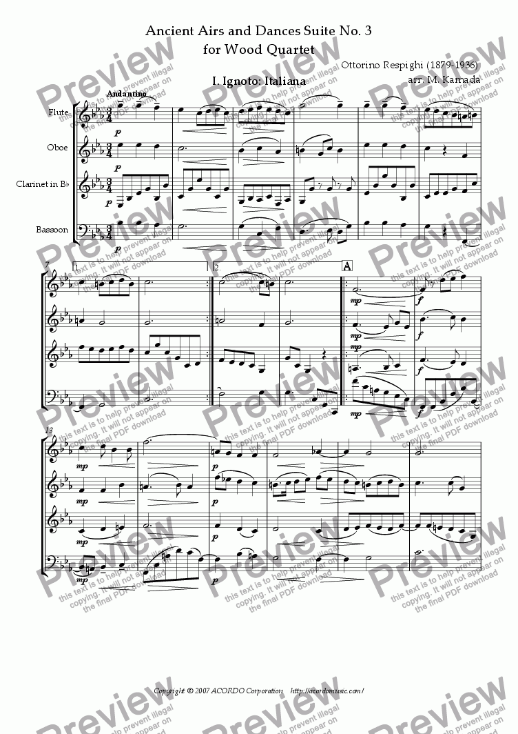 page one of Ancient Airs and Dances Suite No.3 for Wood Quartet