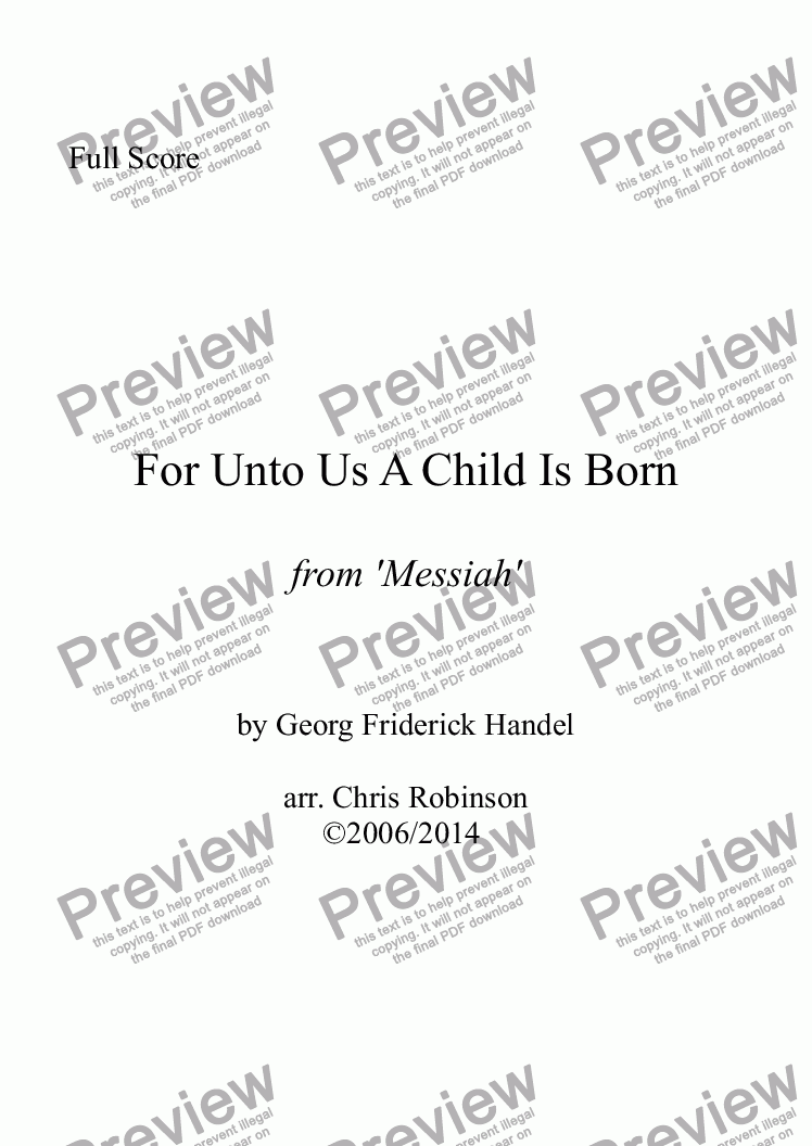 page one of For Unto Us A Child Is Born - Messiah - for Chamber Orchestra