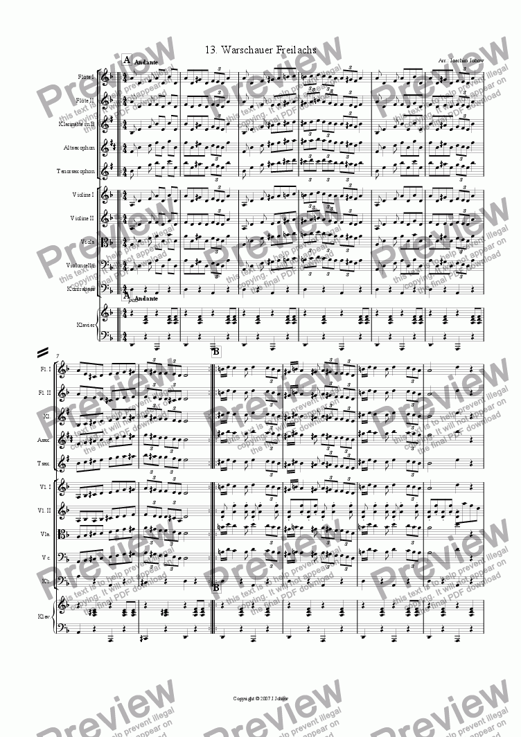 page one of My Klezmer Book 13 (Warschauer Freilachs)