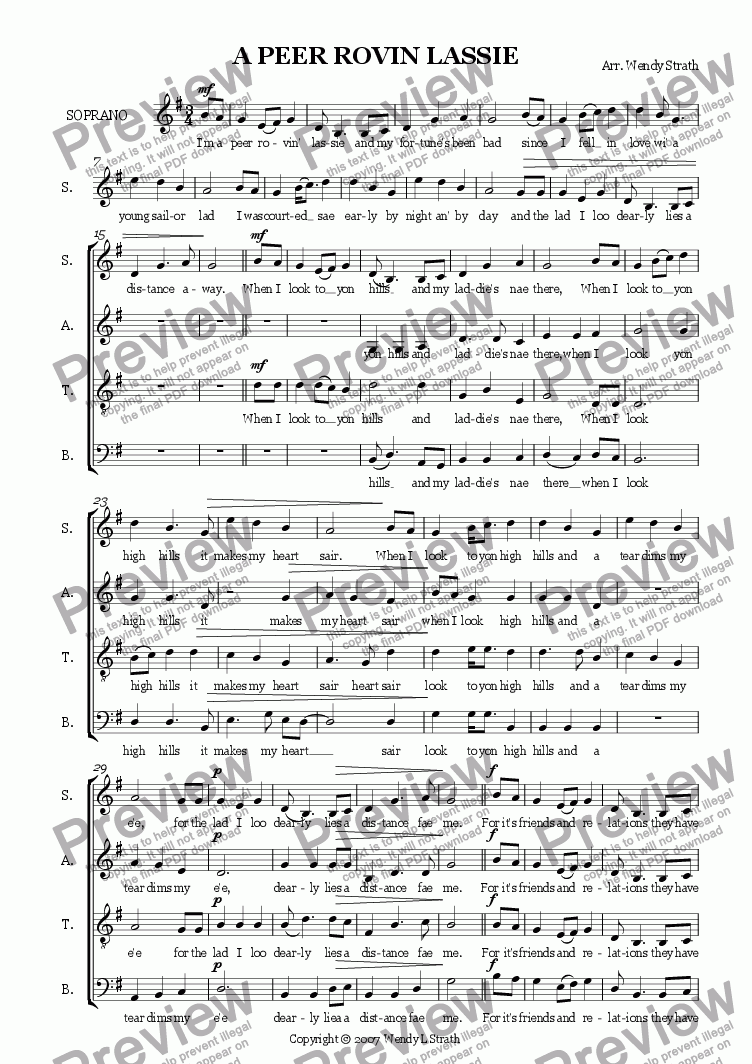 page one of A peer rovin' lassie (SATB)