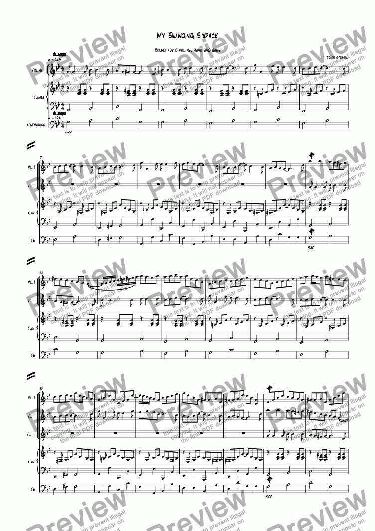 page one of My swinging Sixpack (Round for 6 violins and piano)