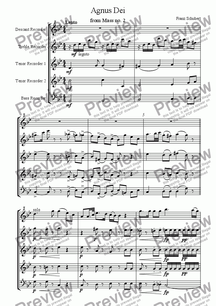 page one of Agnus Dei arranged for recorder quintet