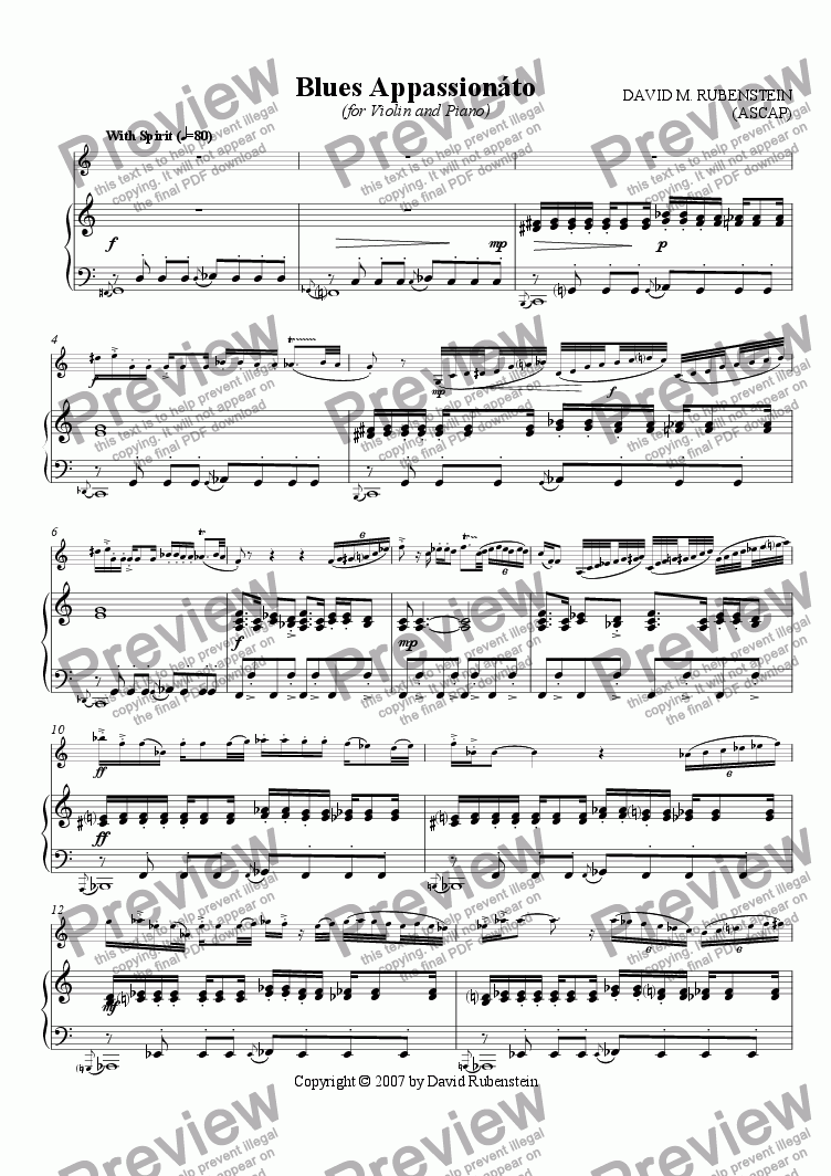 page one of Blues Appassionato