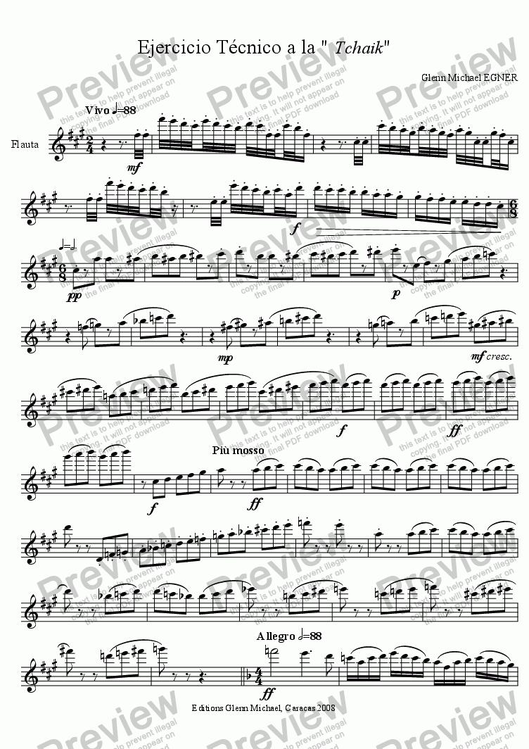 page one of exercise for flute