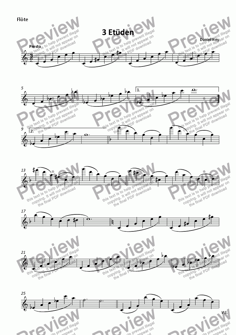 page one of 3 Etudes for flute