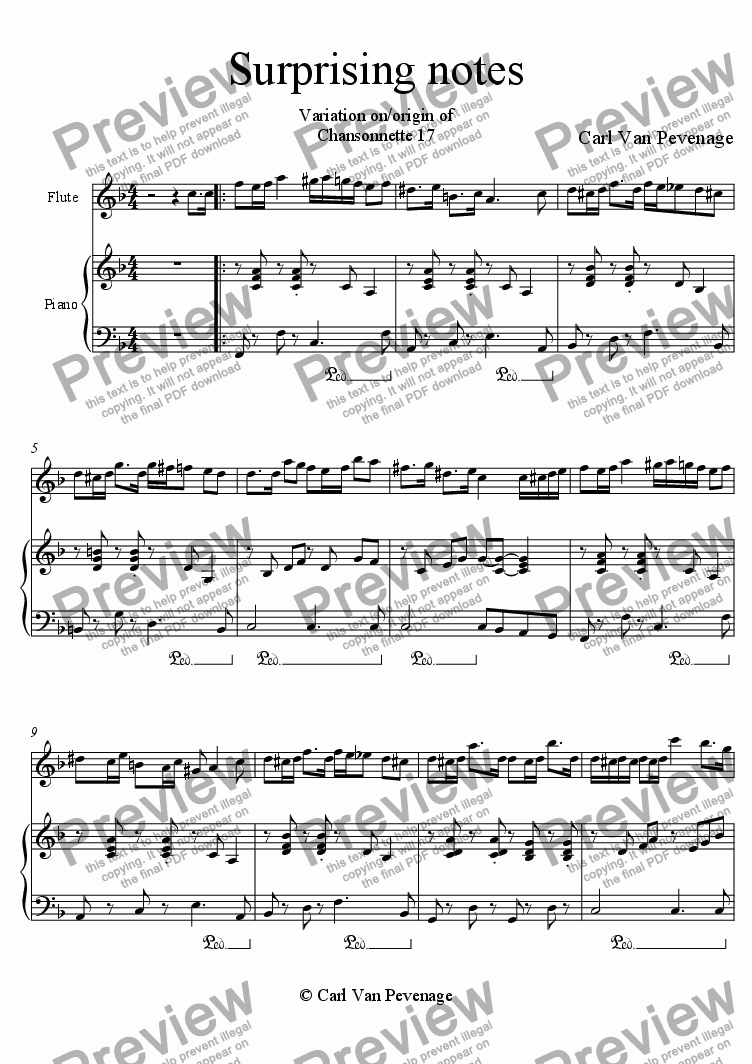 page one of Surprising notes for piano and solo instrument