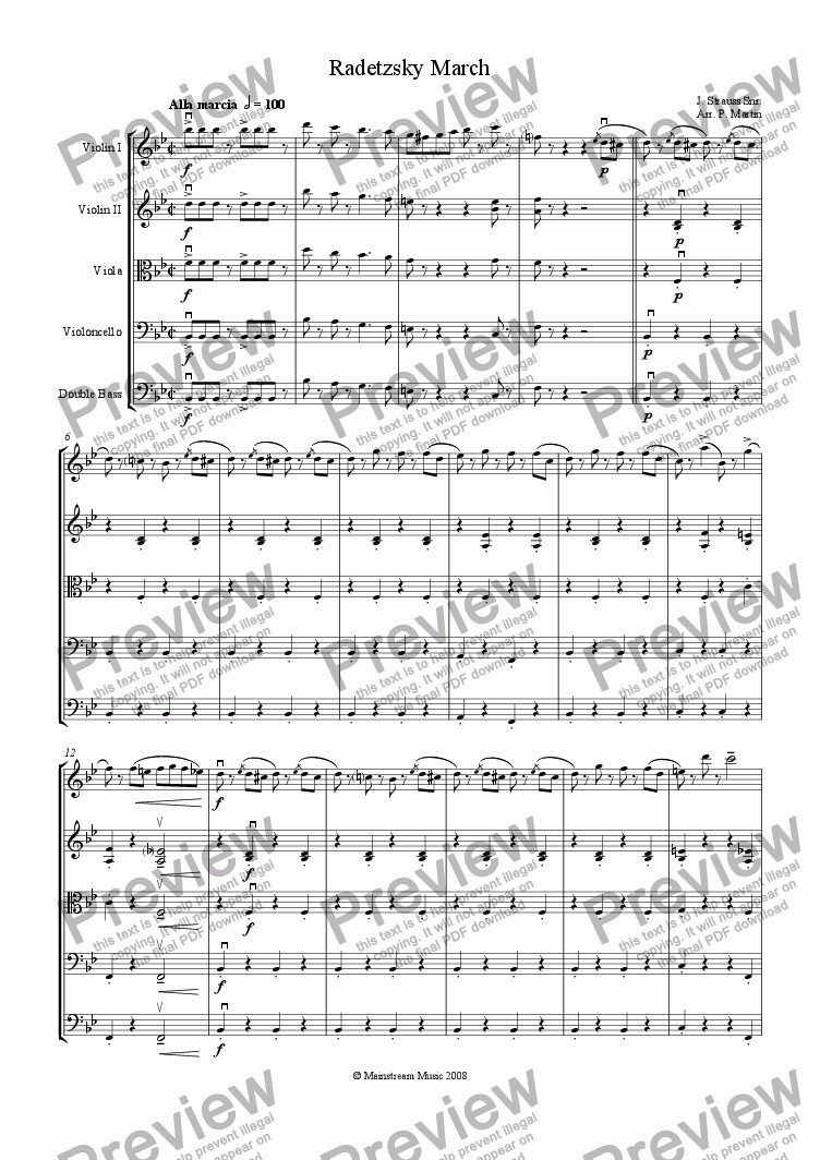 page one of Radetzky March