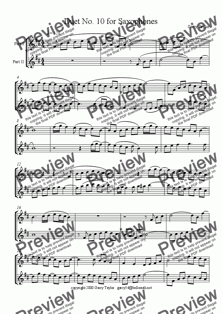 page one of Duet No. 10 for SaxophonesASALTTEXT