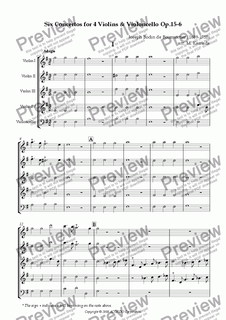 page one of Six Concertos No.6 for four Violins & Violoncello Op.15-6