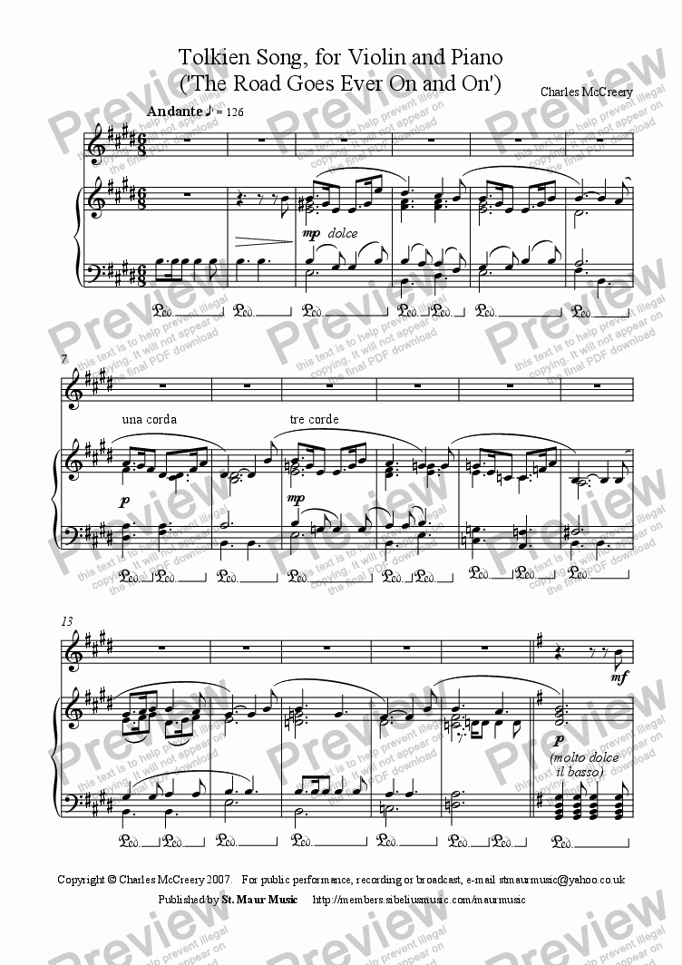 page one of The Old Walking Song (Tolkien), solo violin versionASALTTEXT