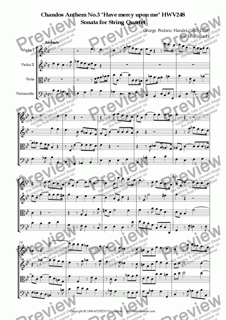 "page one of Chandos Anthem No.3 ""Have mercy upon me"" HWV248 Sonata for String Quartet"