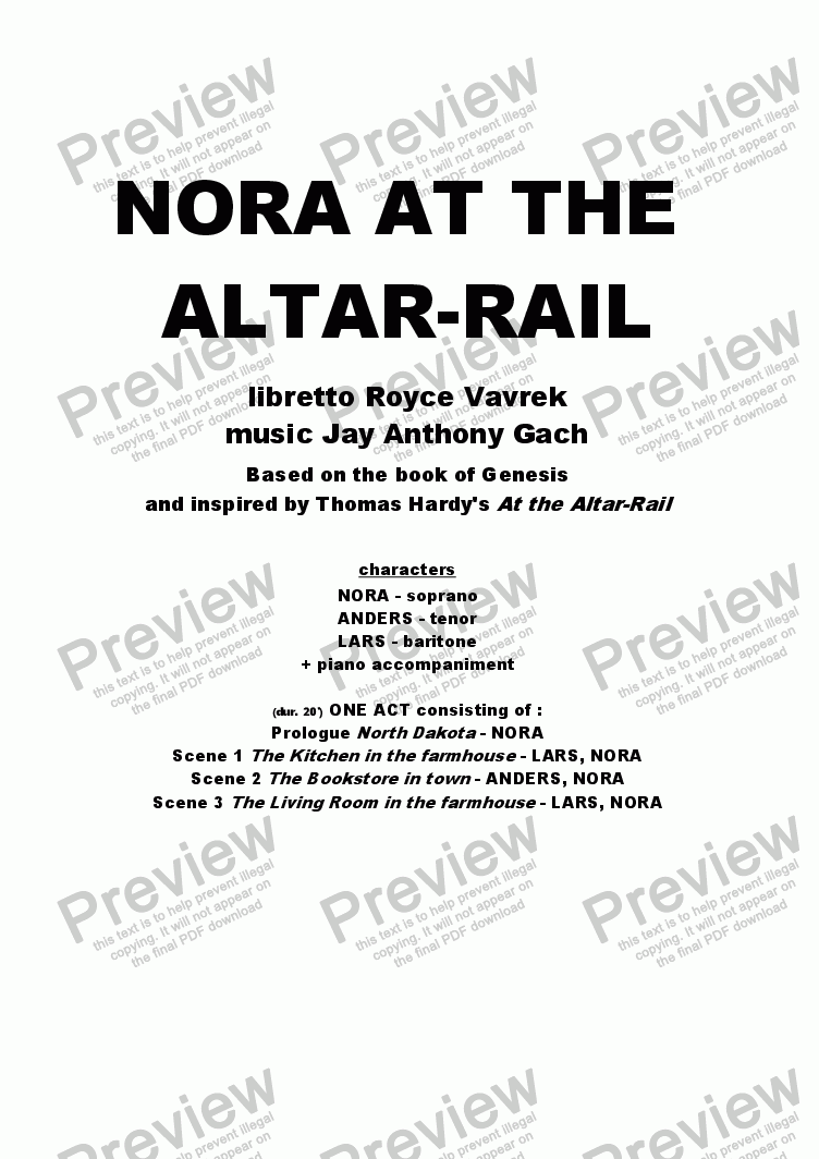 page one of NORA AT THE ALTAR RAIL (one act opera)