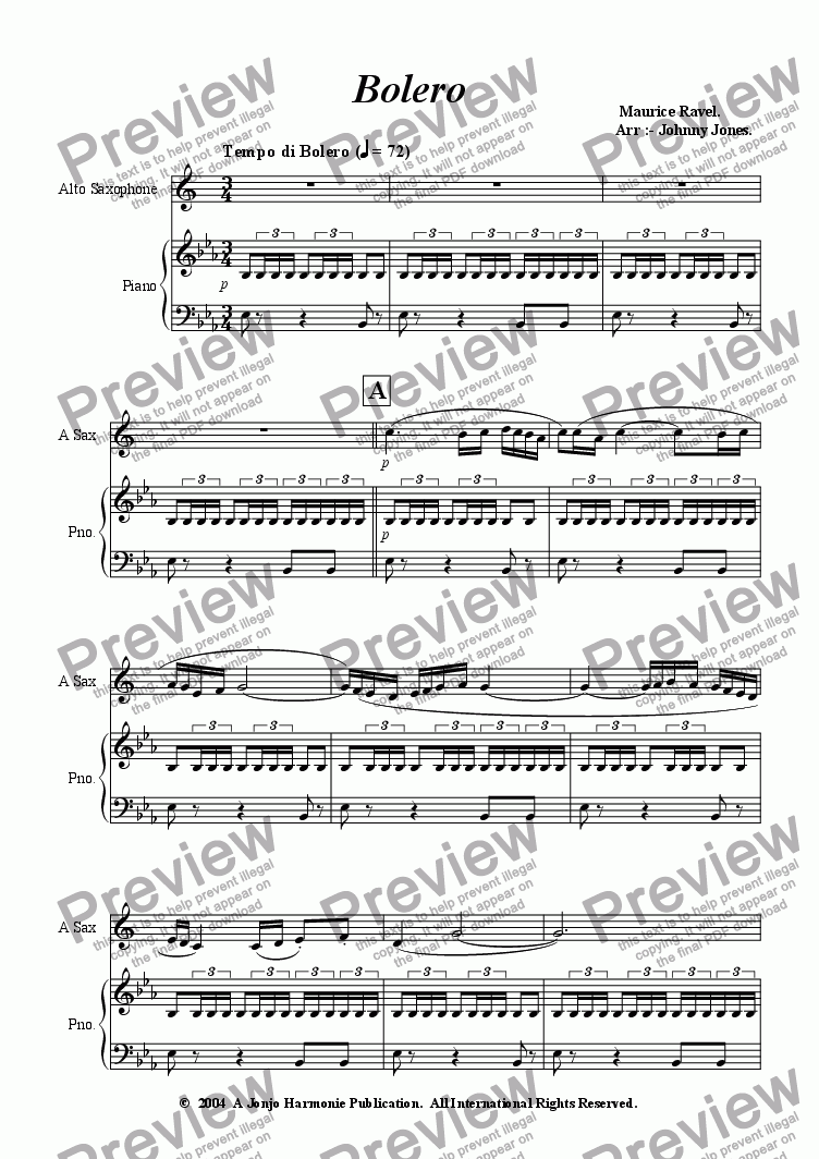 page one of Bolero   (Alto Sax and Piano)