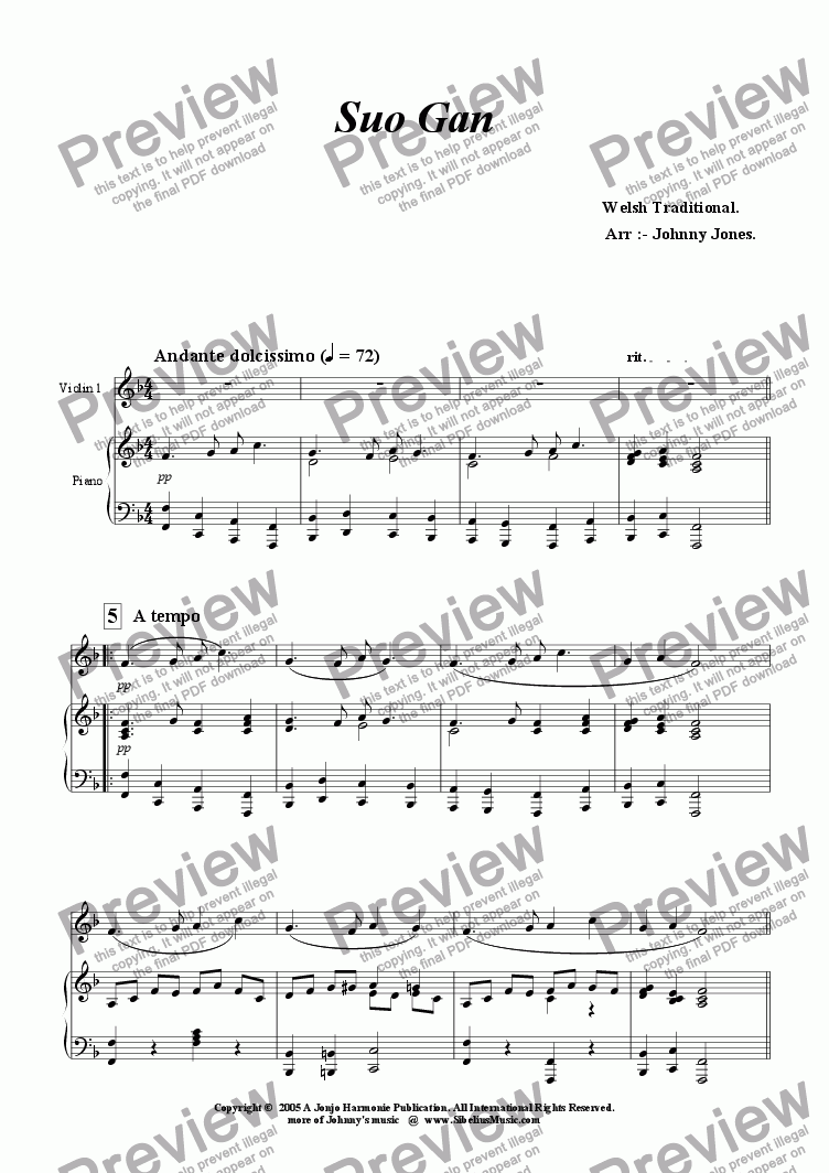 page one of Suo Gan  ( Welsh Lullaby, Violin and Piano )