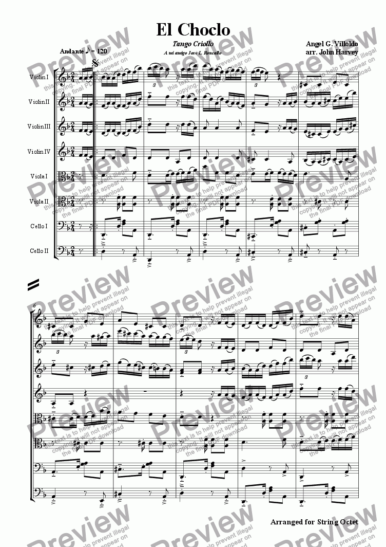 page one of El Choclo Tango (String Octet)