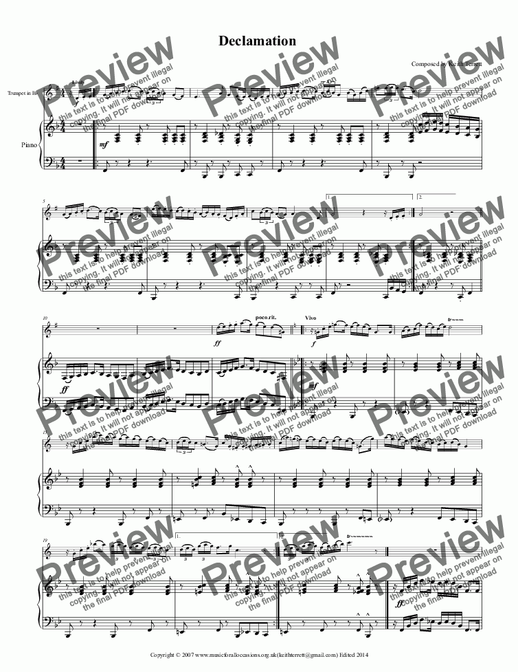 page one of Declamation for Bb Trumpet & Piano (Pro-version)