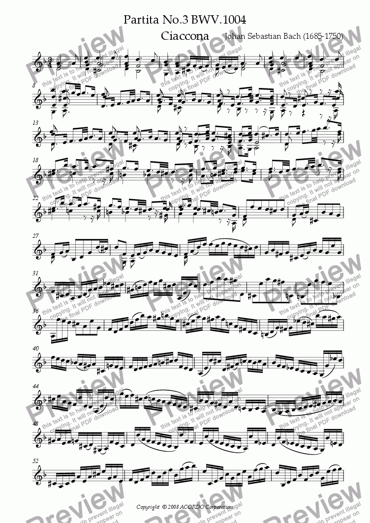 page one of Partita No.3 BWV.1004 Ciaccona for Violin Solo -Urtext-