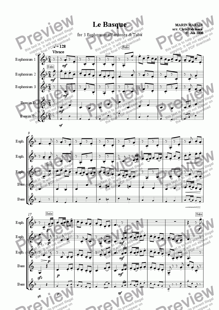 page one of Le Basque - 3 Euphoniums & Tuba [Treble & Bass Clef parts]ASALTTEXT