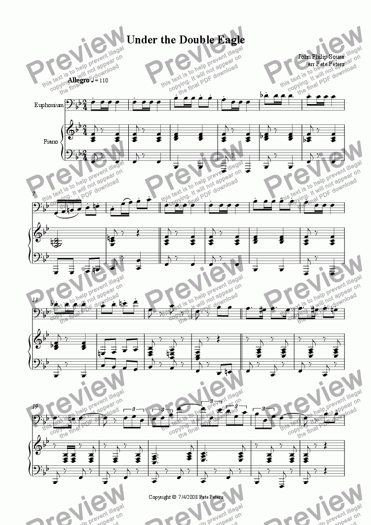 page one of Under the Double Eagle [Euphonium]