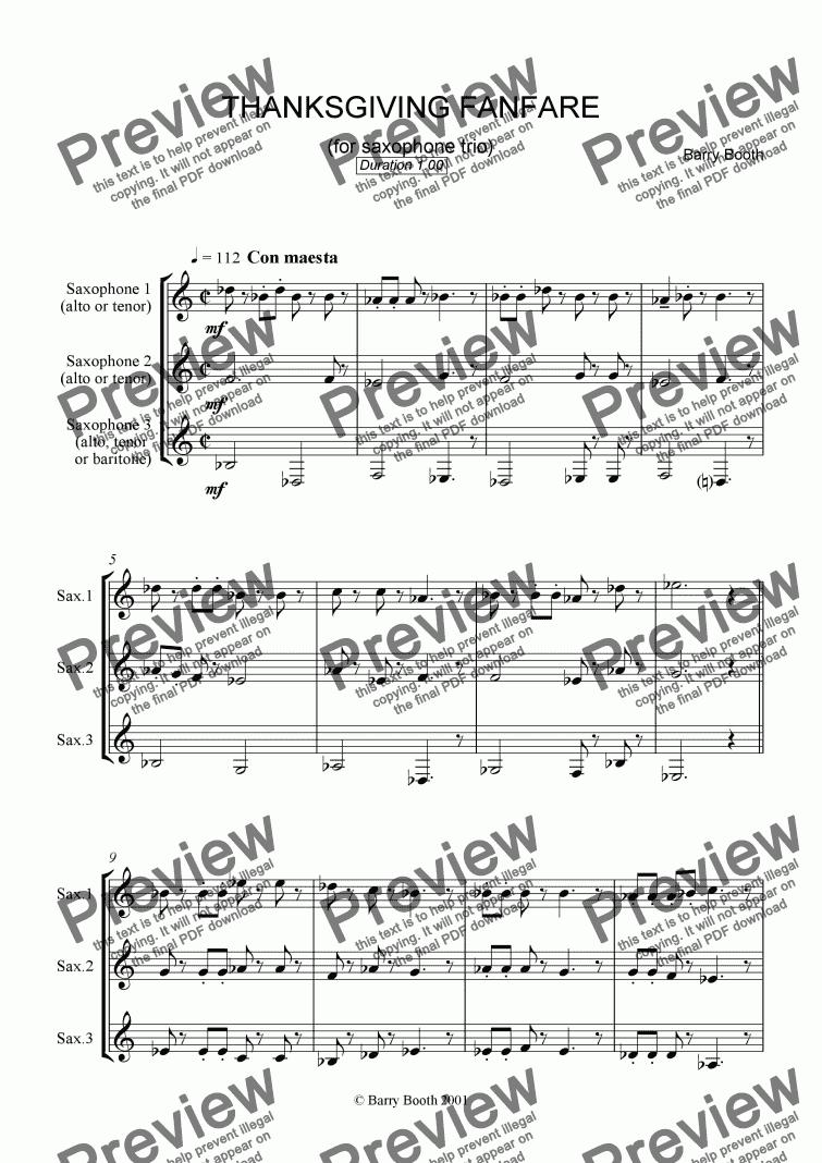 Alto Sax Trio Sheet Music Free - thanksgiving fanfare