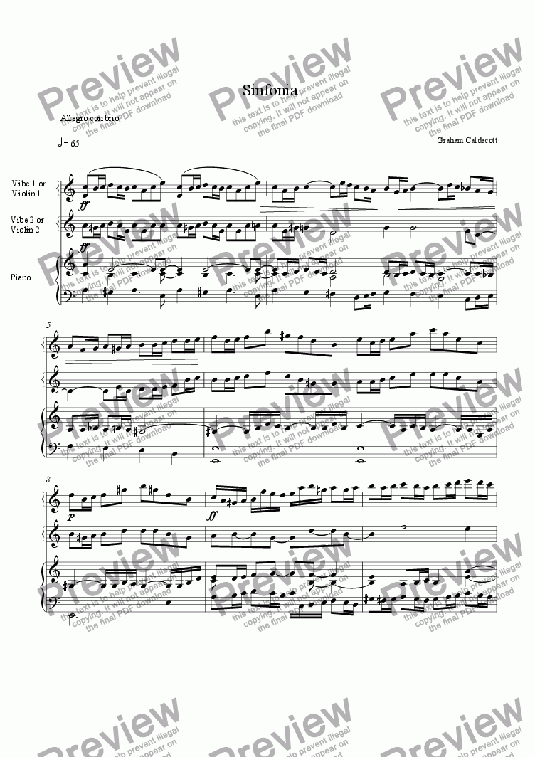 page one of Sinfonia for two violins and piano