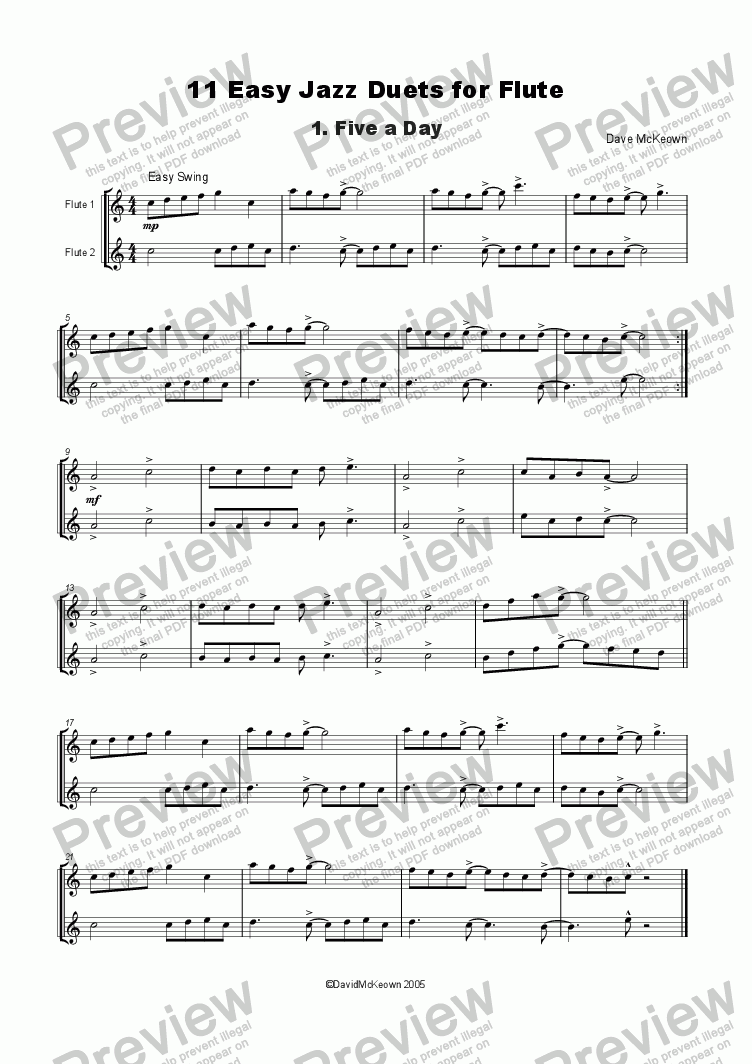 page one of 11 Easy Jazz Duets for FluteASALTTEXT