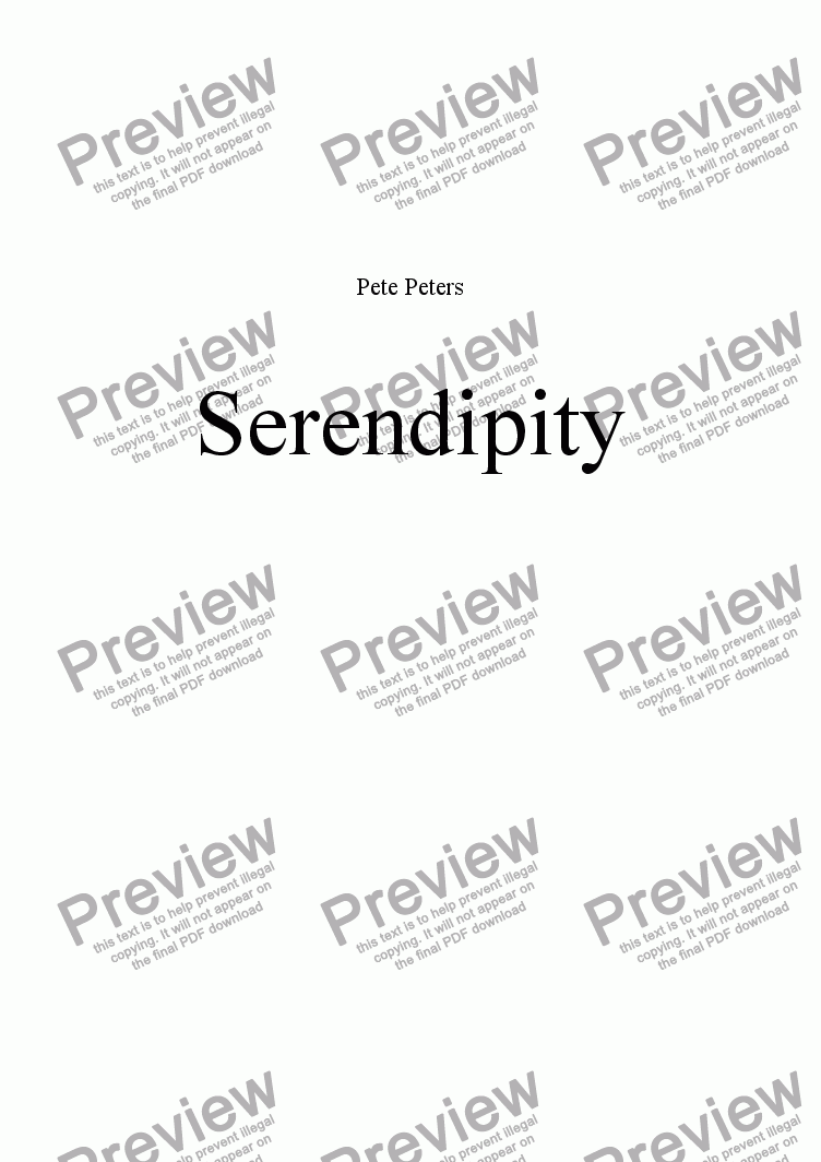 page one of Serendipity  [Piano solo hidden Bass]