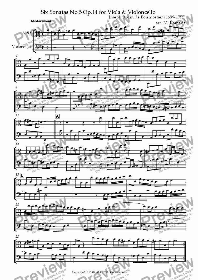 page one of Sonata (Duet) for Viola & Violoncello Op.14-5