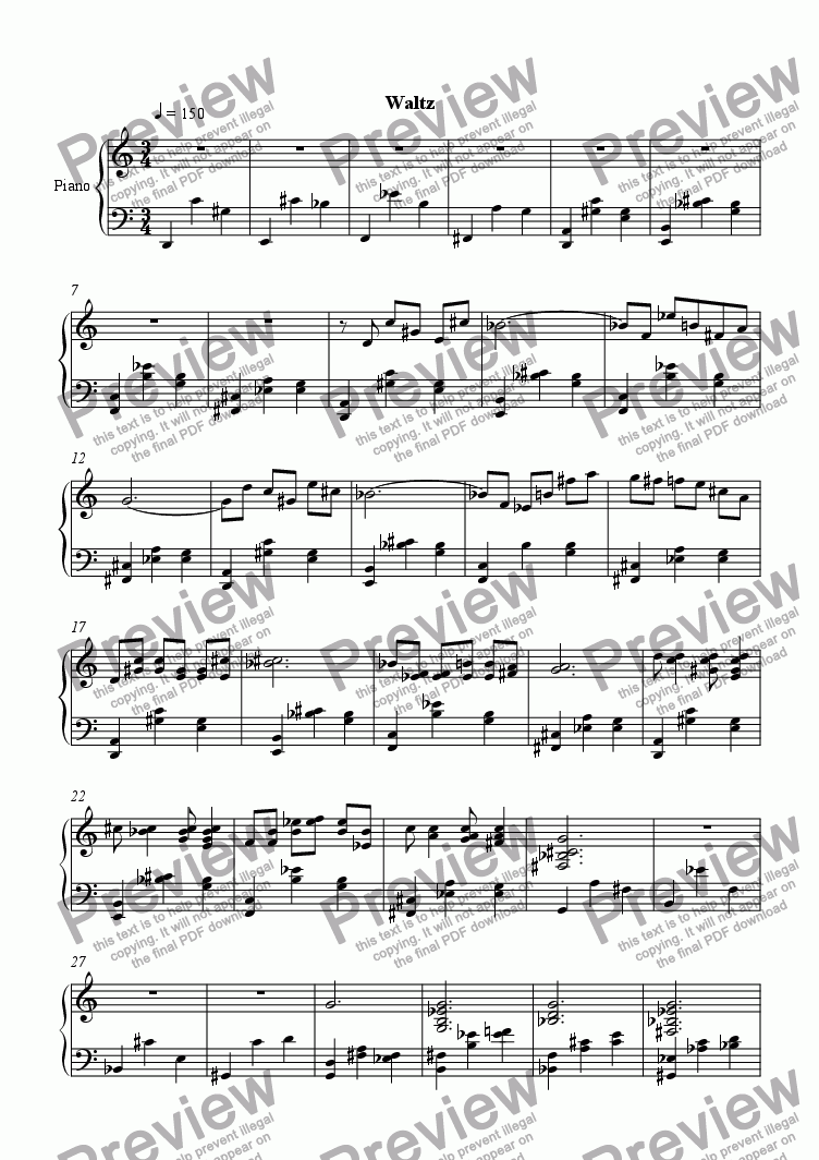 page one of 5 Pieces in 12-Tone: Waltz