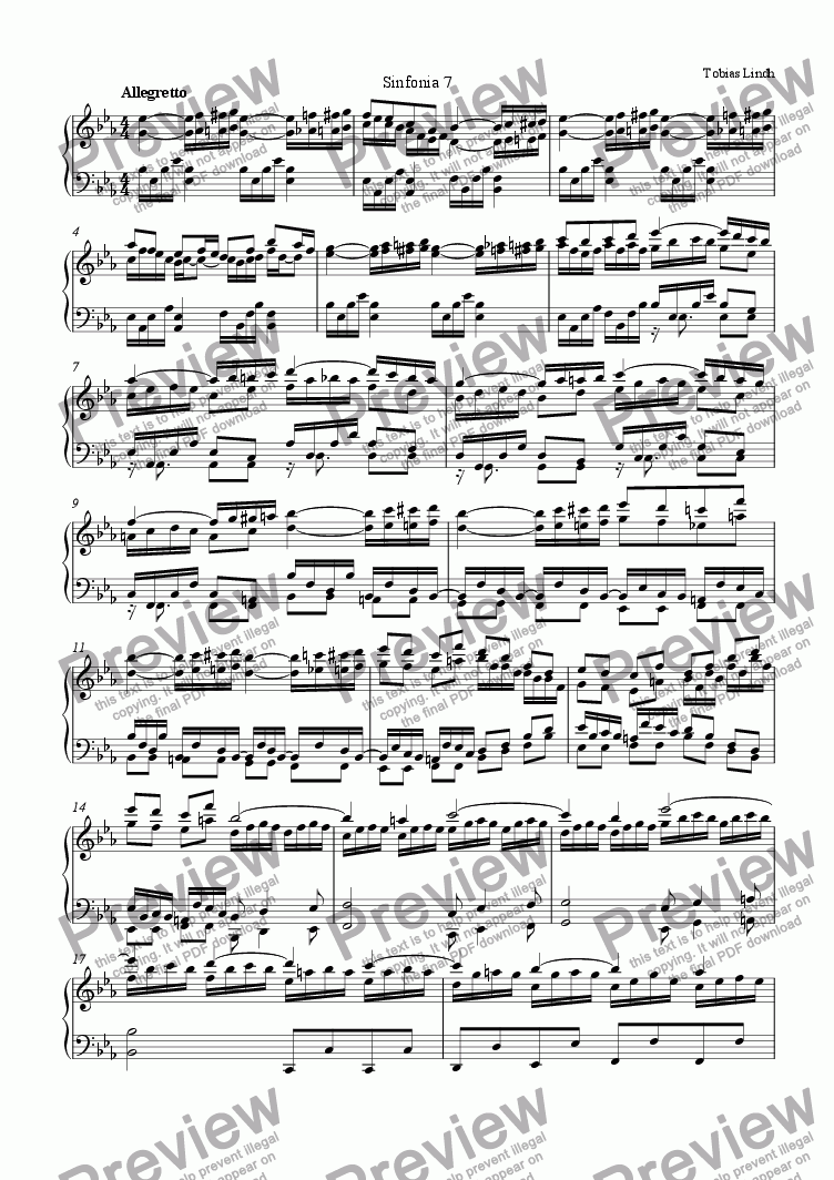 page one of Sinfonias (7-12)