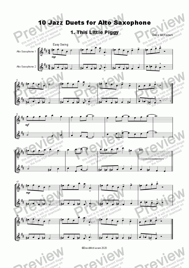page one of 10 Jazz Duets for Alto SaxophoneASALTTEXT