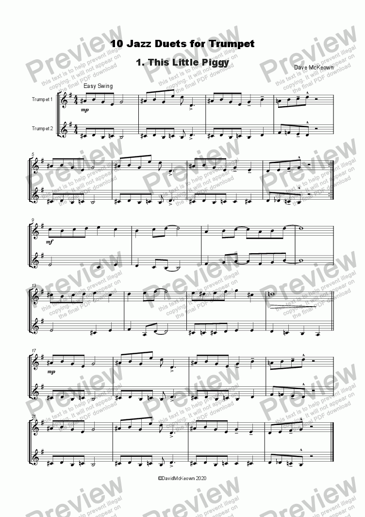 10 Jazz Duets for Trumpet for Duet of Trumpets in Bb by David McKeown -  Sheet Music PDF file to download