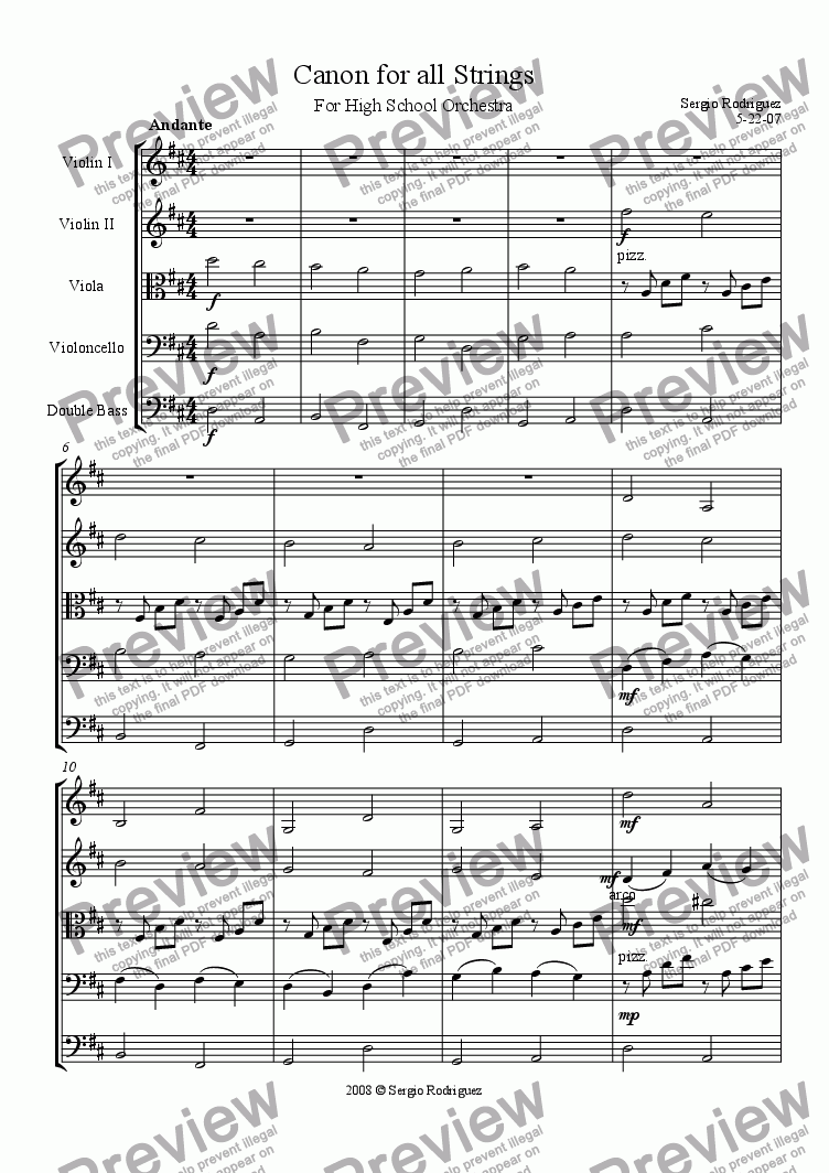 page one of Canon In D; for All Strings by J. Pachel Bell