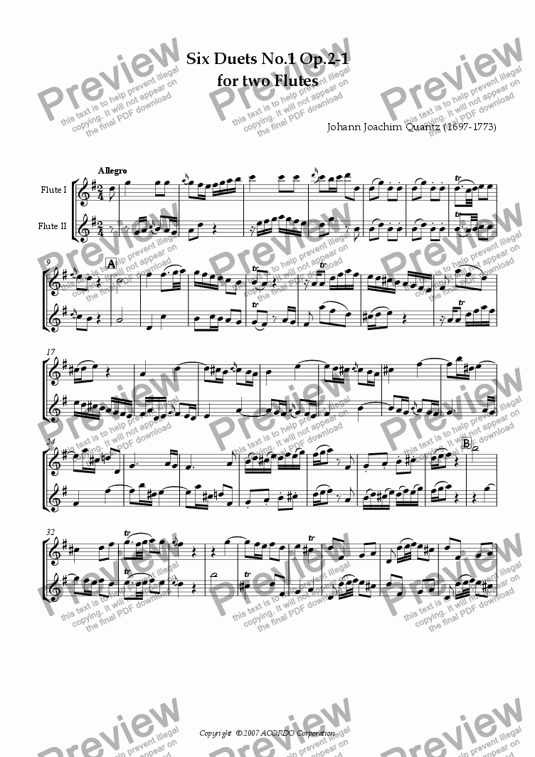 page one of Six Duets No.1 Op.2-1 for two Flutes