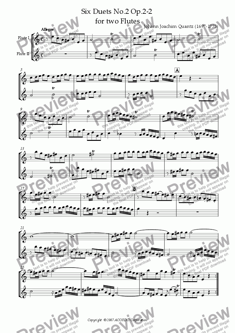 page one of Six Duets No.2 Op.2-2 for two Flutes