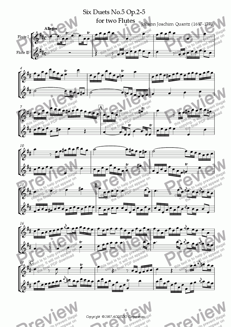 page one of Six Duets No.5 Op.2-5 for two Flutes