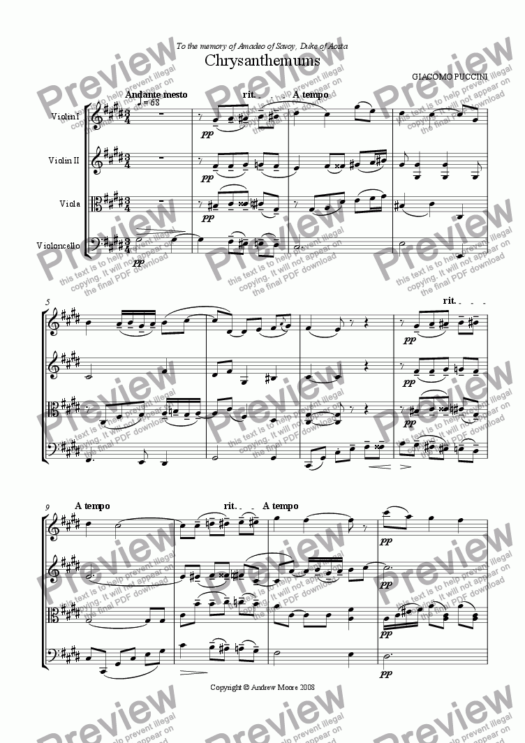 page one of Chrysanthemums / I Crisantemi for string quartet