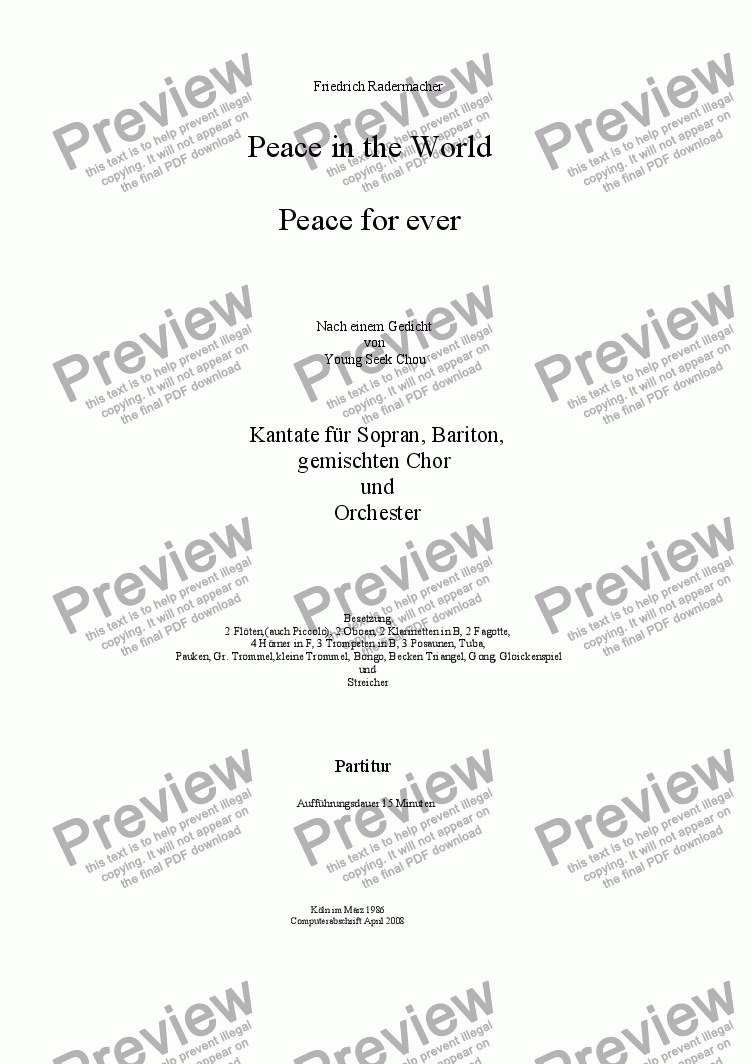 page one of Peace in the World- Peace for ever